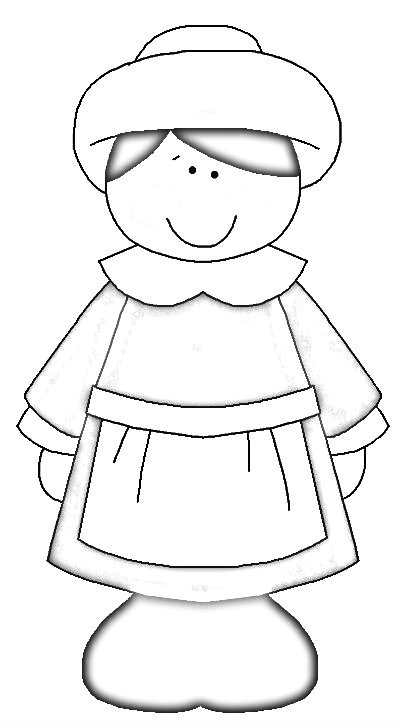 Happy Thanksgiving Pilgrim Girl 2014 from Kaye Swain of Roseville California Joys 400 coloring page