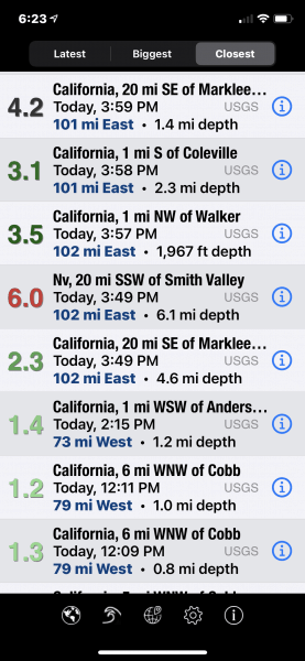 more tiny earthquakes and then 6.0 was felt in Sacramento California Roseville CA and even the Bay area
