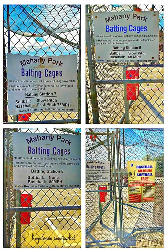 Some of the Mahany Park Roseville CA batting cages info via Kaye Swain REALTOR blogger