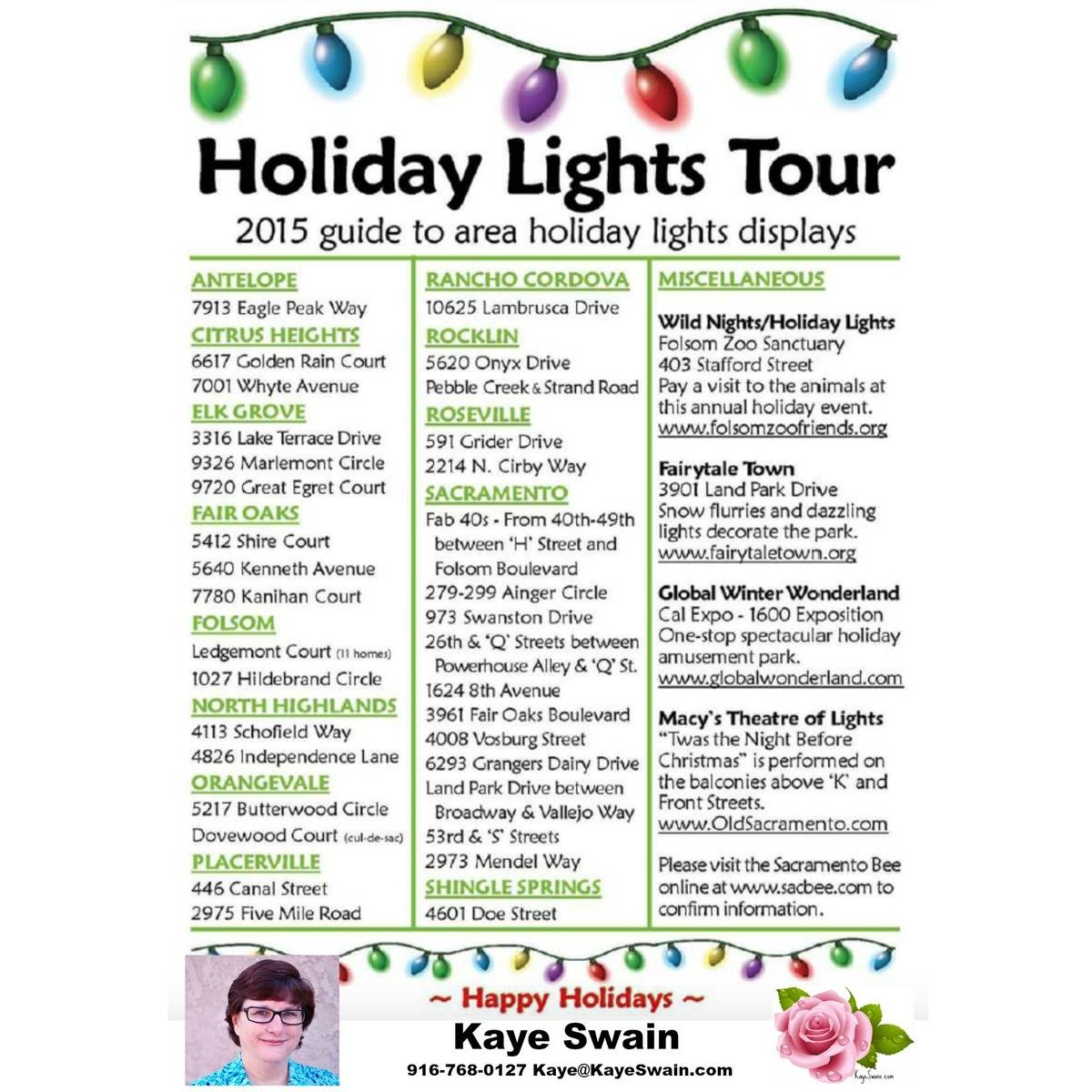 Kaye Swain Roseville CA REALTOR boomers seniors first time home buyers sharing Christmas lights 2015