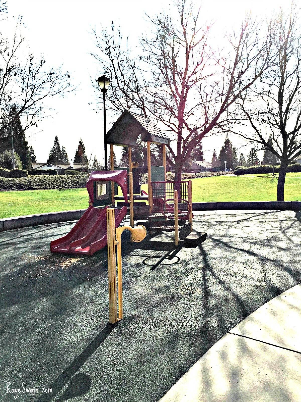 Hall Park in Roseville CA with toddler and regular playgrounds via Kaye Swain real estate agent blogger sharing Sacramento Area Joys