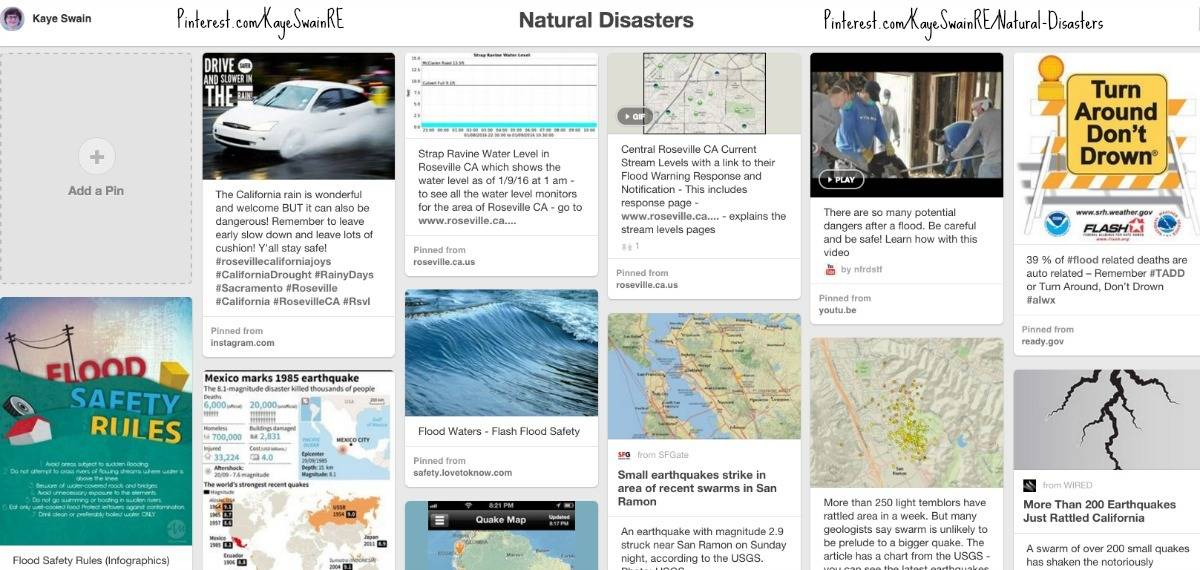 Kaye Swain Your Neighborhood REALTOR in Roseville CA and Sacramento area shares her natural disasters pinterest board