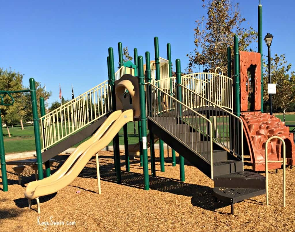 Kaye Swain blogger REALTOR sharing Roseville CA Veterans Memorial Park Parks playground with climber
