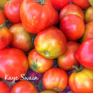 My senior moms tomatoes are always a sweet joy via Kaye Swain