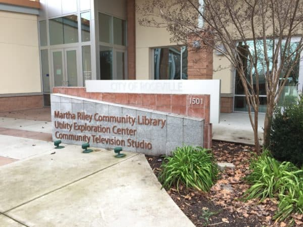 Martha Riley Community Library Utility Exploration Center Community Television Studio Sign via Kaye Swain Roseville REALTOR