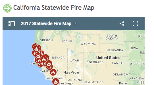 CalFire statewide fire map shows current fires around Placer County