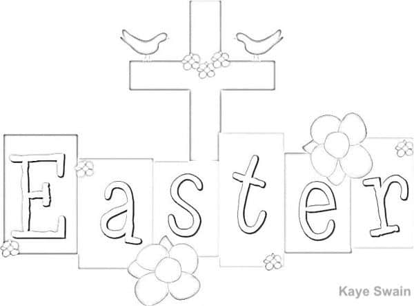 Kaye Swain Roseville CA sharing Easter coloring page