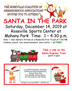 Santa in the Park 2019 brought to you by RCONA via Kaye Swain Roseville REALTOR
