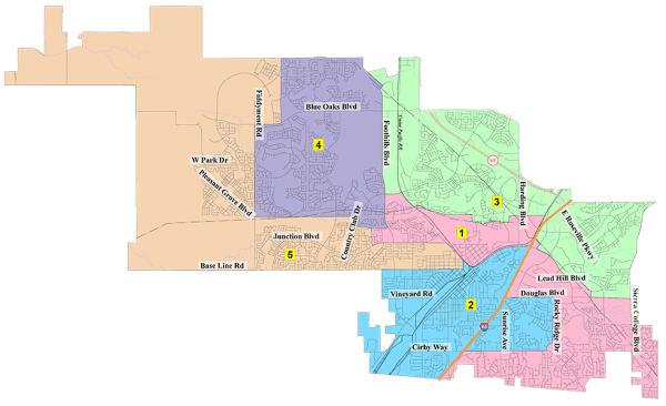 Roseville CA City Map for Roseville CA City Council election 2020