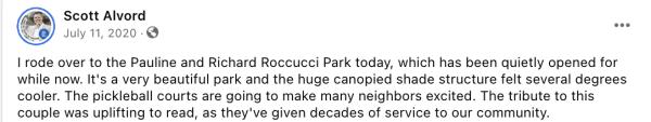 Scott Alvord comment on pickleball at Roccucci park