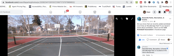 Woodbridge Park has combined courts for tennis - pickleball for Roseville pickleball places play