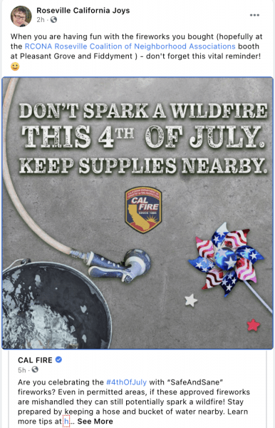 Keep Roseville CA safe from fire by being extra careful with your fireworks