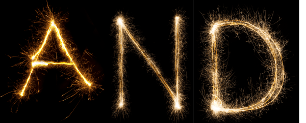 The word AND in sparklers