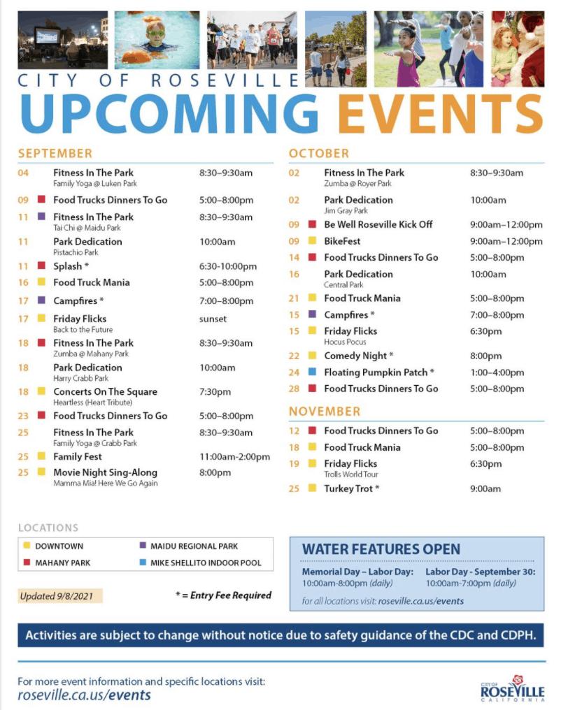 Things to do in Roseville CA Events Flyer September thru November