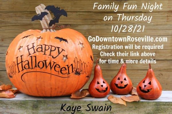 Kaye Swain Roseville REALTOR sharing Downtown Roseville Family Fun Night October 2021